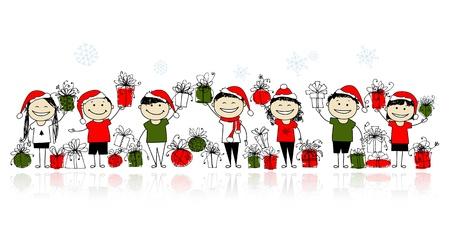 bocetos de personas: Regalos de Navidad. Amigos felices juntos Vectores