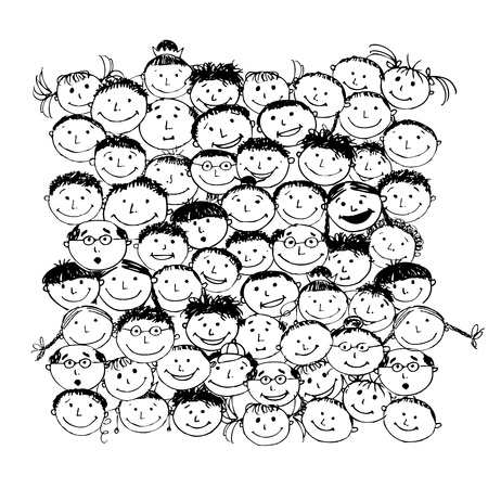 happy face: Crowd of funny peoples, sketch for your design Illustration