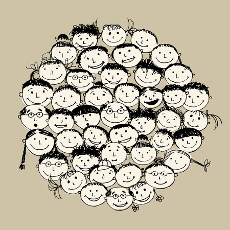 friends cartoon: Crowd of funny peoples, sketch for your design Illustration