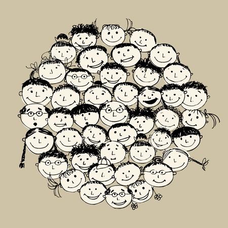 apoyo familiar: Multitud de pueblos divertido, boceto de su dise�o
