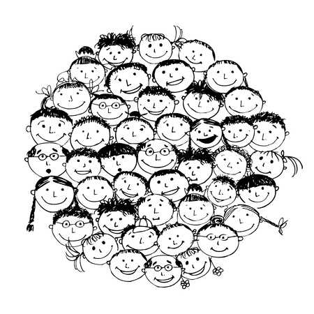 mixed family: Crowd of funny peoples, sketch for your design Illustration