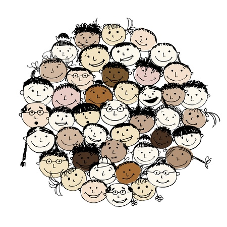 Crowd of funny peoples, sketch for your design Illustration