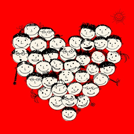 Happy peoples, heart shape for your design Stock Vector - 11263973
