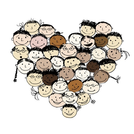 mixed family: Happy peoples, heart shape for your design