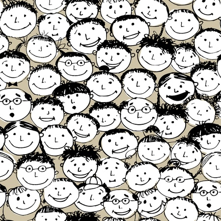 Crowd of funny peoples, seamless background for your design Vector