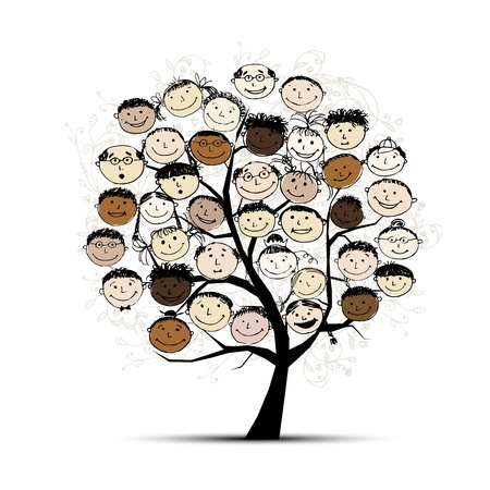 familias unidas: Árbol con los rostros de su diseño Vectores