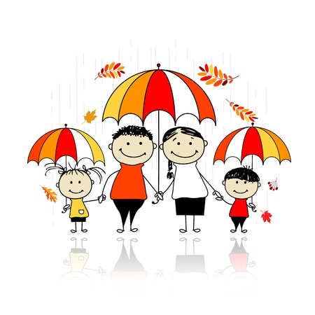black family smiling: Autumn season. Family with umbrellas for your design Illustration
