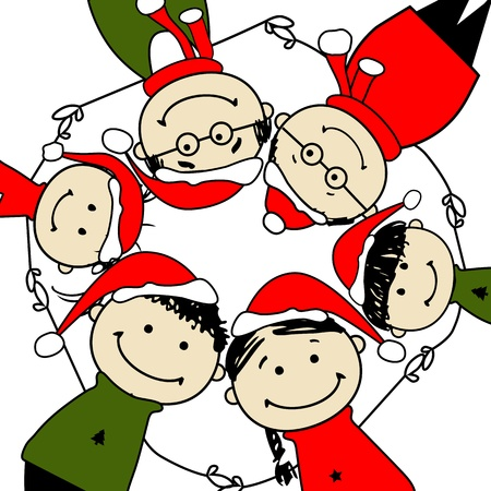 christmas party people: Merry christmas! Happy family illustration for your design