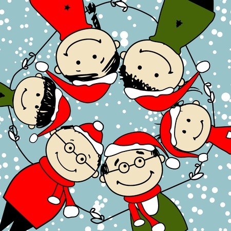 Merry christmas! Happy family illustration for your design Vector