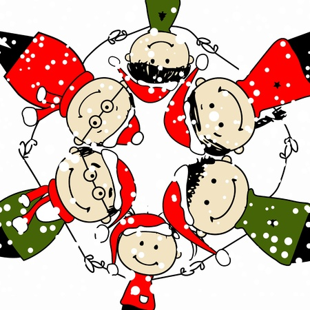 fiesta familiar: �Feliz Navidad! Ilustraci�n de la familia feliz para su dise�o Vectores