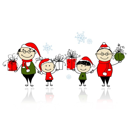 Christmas gifts. Happy family together Vector