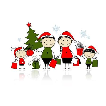 ni�os de compras: Regalos de Navidad. Familia con bolsas de la compra