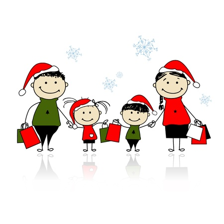 kid shopping: Christmas gifts. Family with shopping bags