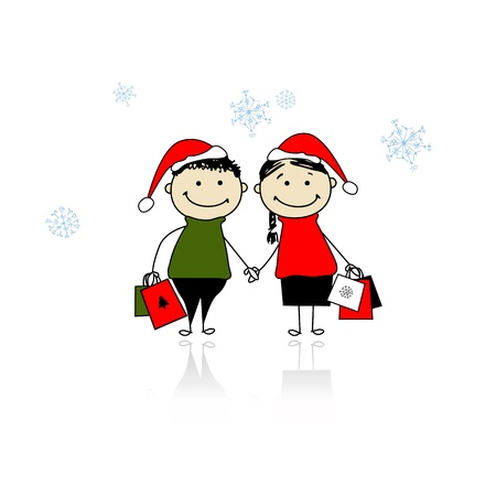 Christmas gifts. Family with shopping bags Vector