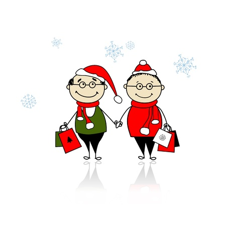 Christmas gifts. Family with shopping bags Stock Vector - 11263942