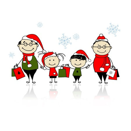 Christmas shopping. Happy family together Vector