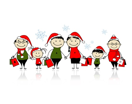 family shopping: Christmas shopping. Happy family together Illustration