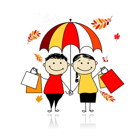 rain cartoon: Autumn sale! Family with shopping bags for your design Illustration