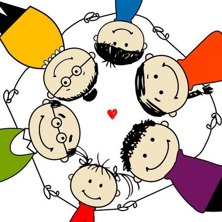 relaciones humanas: Familia feliz juntos, marco para el dise�o de su