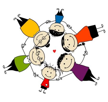 Familia feliz juntos, marco para el diseño de su