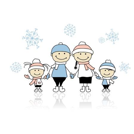 Familia feliz sonriendo juntos, navidad, vacaciones,