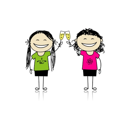 woman drinking wine: Girls drink wine. Party with friends for your design