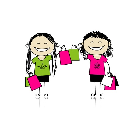 Shopping with friends. Girls with bags for your design Vector