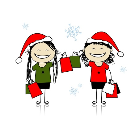 Christmas shopping with friends. Girls with bags for your design Vector