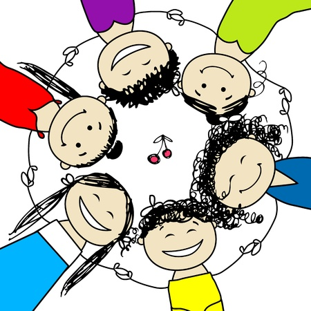 young people group: Gallina festa! Amici divertente per il vostro disegno Vettoriali