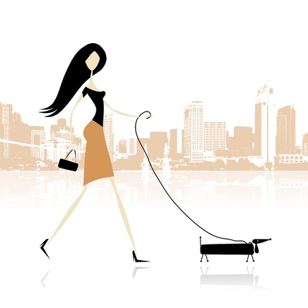 Girl with dog walking in the city