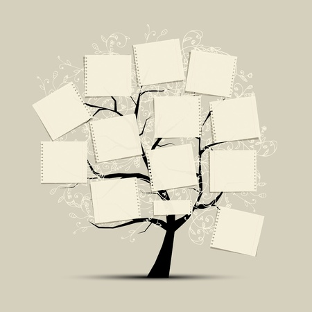 paper clip: Art tree with papers for your text Illustration