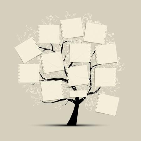 arbol genealógico: Arte árbol con los documentos para su texto Vectores