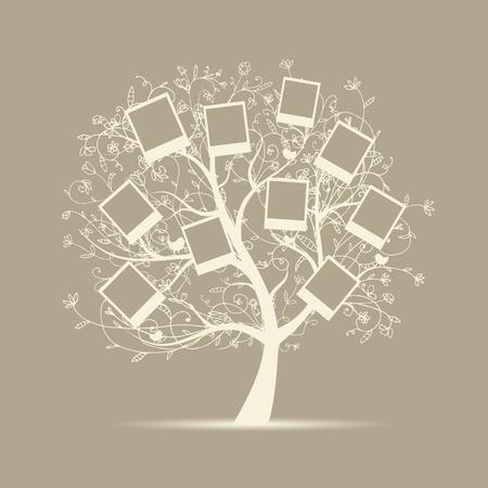 arbol genealógico: El diseño del árbol de familia, insertar tus fotos en cuadros
