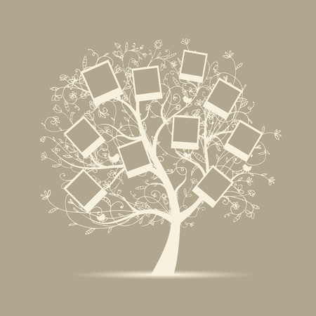 photo album page: Family tree design, insert your photos into frames