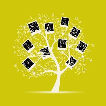 árbol genealógico: El diseño del árbol de familia, insertar tus fotos en cuadros