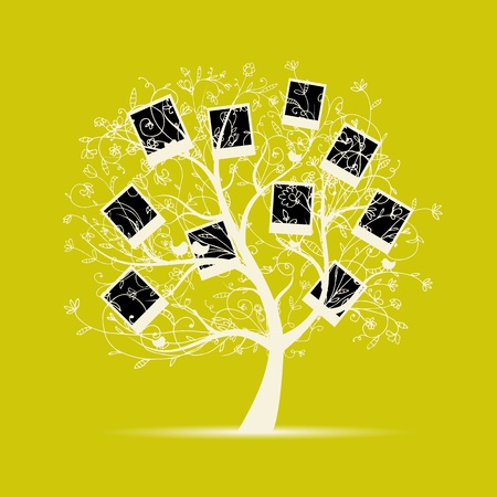 old album: Family tree design, insert your photos into frames