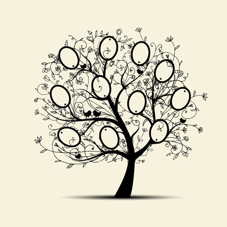 old family: Family tree design, insert your photos into frames