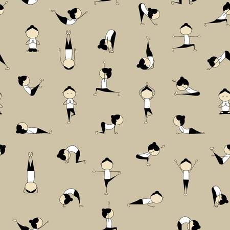 cartoon yoga: People practicing yoga, seamless background for your design  Illustration