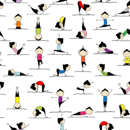 warrior pose: People practicing yoga, seamless background for your design  Illustration