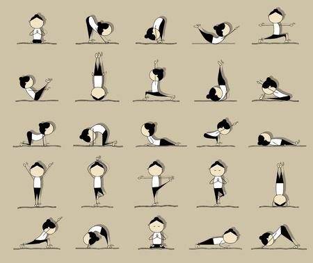 cobra: Las personas que practican el yoga, de 25 a�os posa para el dise�o de su Vectores
