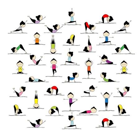 Mensen beoefenen van yoga, 25 poseert voor uw ontwerp Vector Illustratie