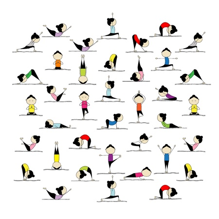 exercise cartoon: People practicing yoga, 25 poses for your design