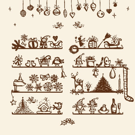 Christmas shop, sketch drawing for your design  Vector