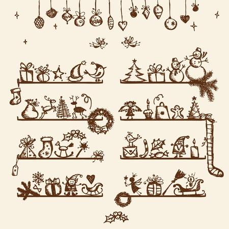 bougie coeur: Boutique de No�l, dessin esquisse pour la conception de votre