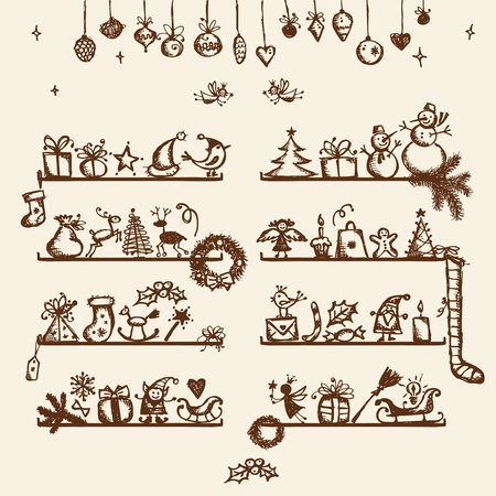 toy shop: Christmas shop, sketch drawing for your design