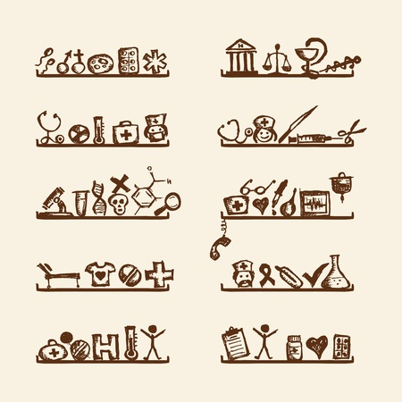 Shelves with medical icons for your design  Vector