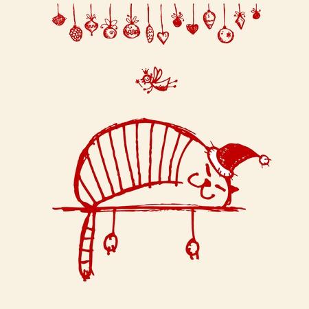 kerstmuts: Kerstkaart, grappig santa kat voor uw ontwerp Stock Illustratie