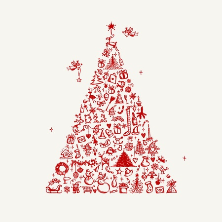 christmas sock: Christmas tree sketch for your design