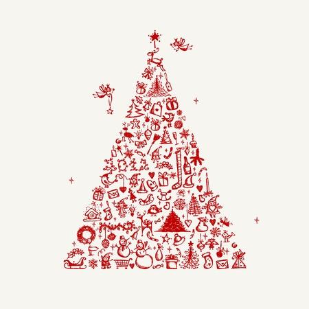 christmas berries: Schizzo albero di Natale per il vostro disegno