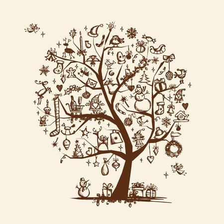 bougie coeur: Croquis d'arbre de Noël pour votre conception Illustration